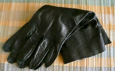 """Vintage Gloves Classic Italian Unlined Leather Black Gloves Size 6"""" - 6 1/2"""" Med"""
