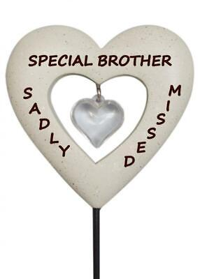 Brother Diamante Heart Stick - Memorial Tribute Spike - Remembrance Plaque Stake