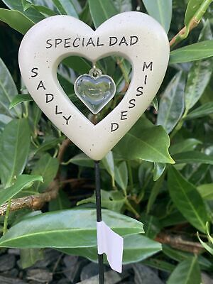 Dad Diamante Heart Stick - Memorial Tribute Spike - Remembrance Plaque Stake