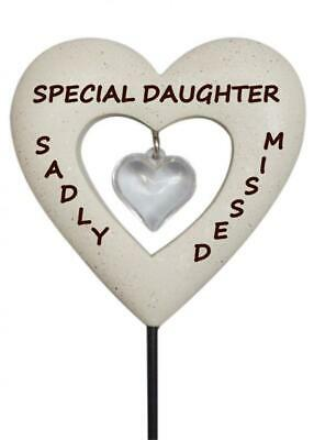Daughter Diamante Heart Stick - Memorial Tribute Spike Remembrance Tribute Stake