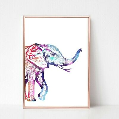 elephant Print poster a4 picture nursery unframed animal watercolour multicolour