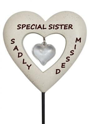 Sister Diamante Heart Stick - Memorial Tribute Spike - Remembrance Tribute Stake