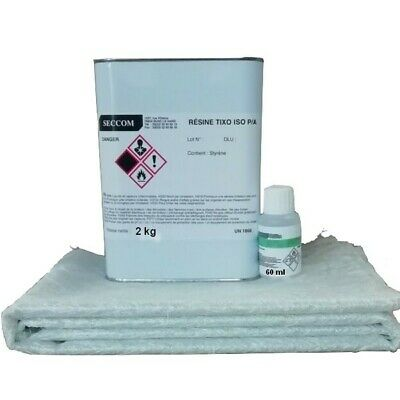 Kit 2 kg Résine polyester ISO + 60 ml catalyseur + 3 M² MAT 225 g/m² + pipette