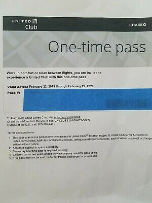 One United Airlines UA Club One-Time Passes- Quick E-Delivery-  Exp Feb 29, 2020