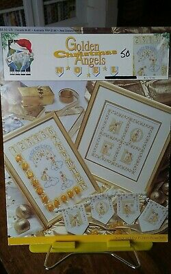 Vtg cross stitch chart only True Colors Golden Christmas Angels advent calendar
