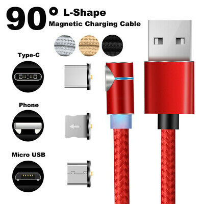 HOT L-Shape 90° Magnetic Charger Type-C Charging Cable For iPhone Micro USB
