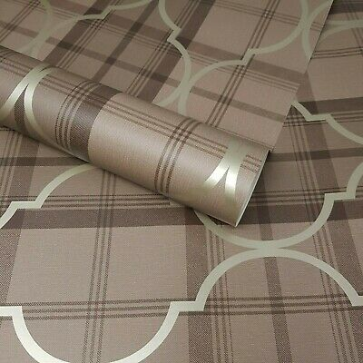 Fine Décor - Cambridge Brown and Gold Gingham Check Trellis Wallpaper - FD40537
