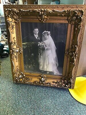 Vintage Early 1900's Large Very Ornate Wooden Picture Frame & Photograph