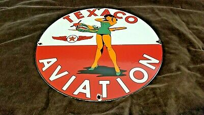 Vintage Texaco Gasoline Porcelain Military Gas Aviation Service Pump Plate Sign