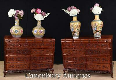 Pair Chinese Chests of Drawers - Large Hand Carved Commodes