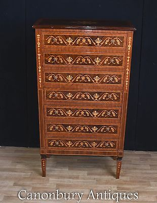 Regency Sheraton Chest Drawers English Furniture Marquetry Inlay