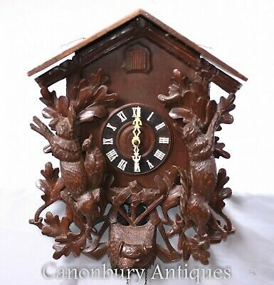 Swiss Cuckoo Clock Hand Carved Black Forest
