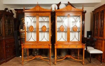 Pair Sheraton Satinwood Display Cabinets Bookcases Furniture