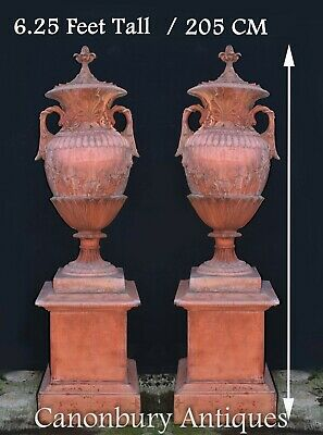 Pair Large English Terracotta Garden Urns Architectural Antiques