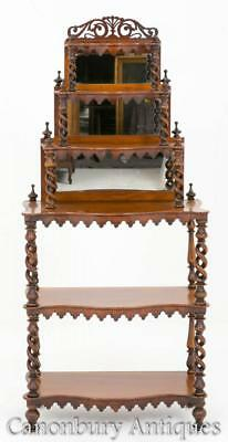 Victorian Walnut Whatnot Bookcase Barley Twist 1860