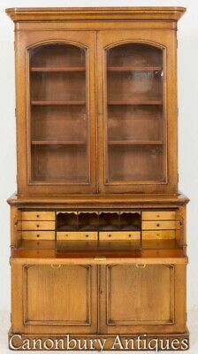 Victorian Oak Bookcase - 2 Door Antique Cabinet 1860