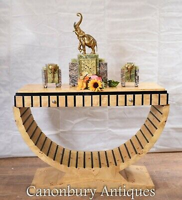 Art Deco Console Table - Blonde Walnut Oggee