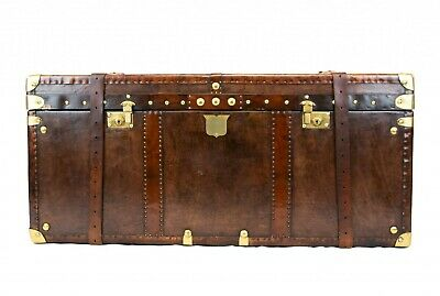 Steamer Trunk Luggage Case - Leather Storage Box Table