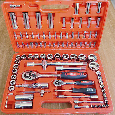"Moss 94PC 1/2"" 1/4"" Socket Set & Screwdriver Bit Torx Ratchet Case Tool Kit"