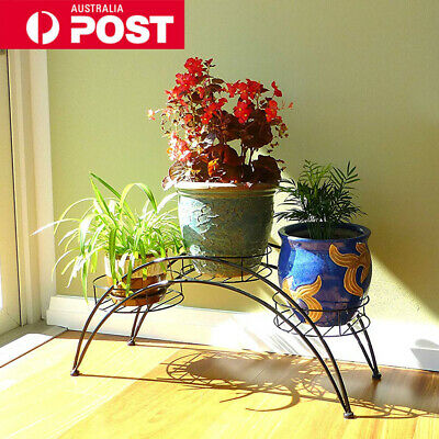 Outdoors Indoor Pot Plant Stand Garden Decor Flower Rack Wrought Iron Arch Black