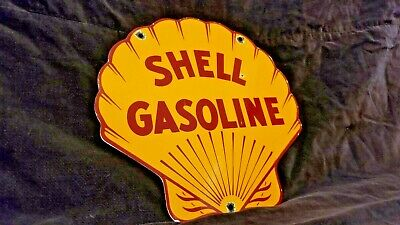 Vintage Shell Gasoline Porcelain Auto Race Car Service Station Pump Plate Sign