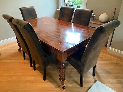 Antique Victorian Mahogany Dining Table 174x105cm Seats 6/8 With 2 drawers