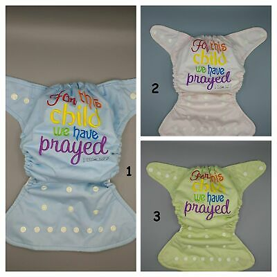 "SassyCloth OS pocket cloth diaper with embroidery ""For this child we have prayed"