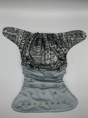 SassyCloth one size pocket cloth diaper with tattoo PUL print.