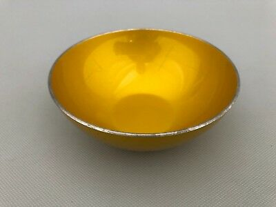 Vintage Emalox Mid-Century Modern Metallic Yellow Enamel Bowl  From Norway