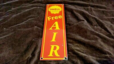 Vintage Shell Gasoline Porcelain Gas Air Wash Service Station Pump Plate Sign