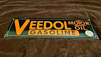 Vintage Veedol Gasoline Porcelain Gas Old Bp Oil Service Station Pump Plate Sign