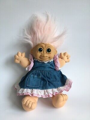 Russ troll doll-large- girl pink jean jumper dress overalls  plush stuffed