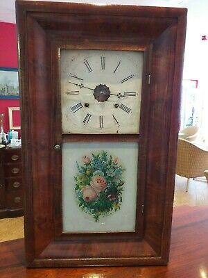New England OG OGEE American ANTIQUE Ansonia New Haven MAHOGANY WALL SHELF CLOCK