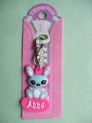 PERSONALISED ZIPPER PALS (GIRL) - ANNE - Keyring, charm, zip puller