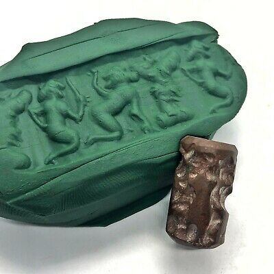 Babylonian Style Cylinder Intaglio Bead Brown Stone Seal Iraq Middle East Islam