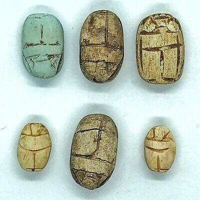 6 Ancient Egypt Faience Clay Scarab Beads Bug 200 BC Souvenir Appraised $300.00