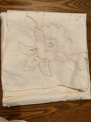 """NWT Ecru Tablecloth 34"""" square ~ Cut floral embroidery ~ 100% Cotton ~ LOVELY!!"""