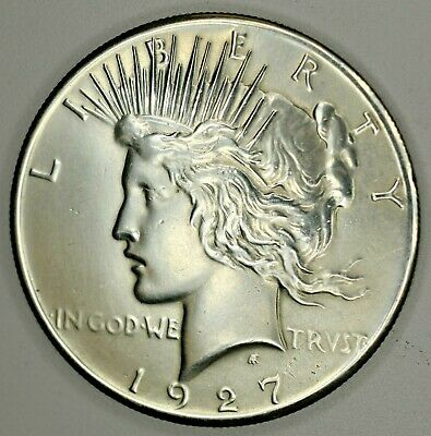 1927 Peace Dollar $1 (Old Cleaning) •• Super, SUPER HIGH GRADE BU+! Razor Strike
