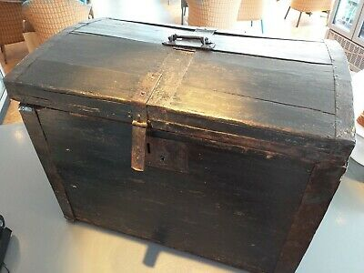 antique WOOD wooden chest CASE BOX Trunk Circa 1840 metal trim, lock, top handle