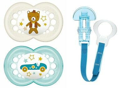 MAM 16+ Mon. Value Pack 2 Pacifiers & Clip Pearl Collection Orthodontic Pacifier