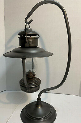 Chicken Ranch Brothel Metal Oil Lamp Antique Finish w/Brass Tag Glass Globe