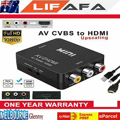 Composite AV CVBS 3RCA to HDMI Video Converter 1080p Upscaler with Power Adapter