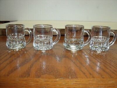 Federal Glass Clear Miniature Beer Mug Shot Glass Signed F with Shield 4 pc lot