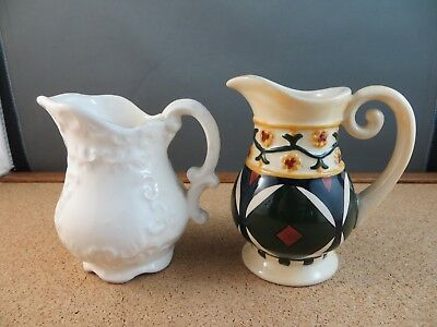 2 Small Pottery Creamer Pitcher Victorian Style Ivory, 2002 Jim Shore Decorated
