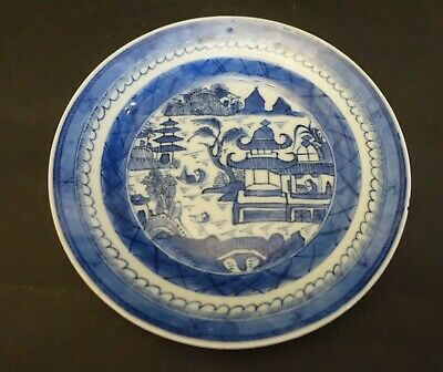 """edx109 ANTIQUE CHINESE EXPORT WILLOW PLATE  5 3/4"""""""