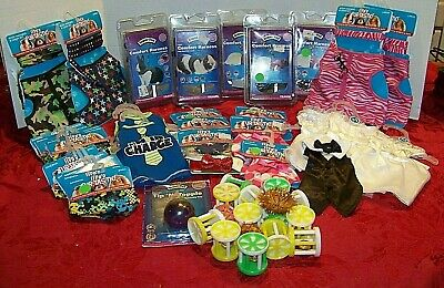 SMALL ANIMAL SUPPLIES LOT-50 PIECES-Harnesses, T-shirts, dresses, bandanas, toys