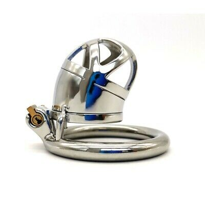 Men's Short Chastity Cage Stainless Steel Locking Belt Barbed Ring Soft Tube 237