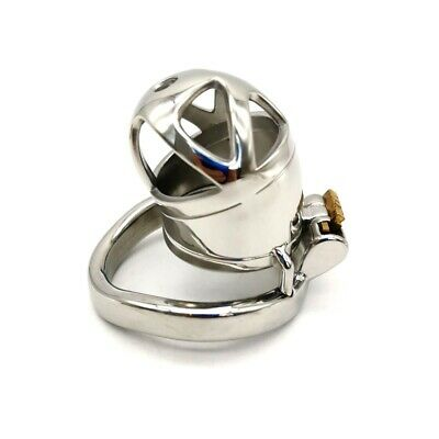 Men's Short Chastity Cage Male Stainless Steel Locking Belt Removable Tube CC238