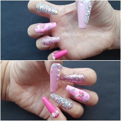 12x Extra Long Coffin Pink Diamante Hand Painted UV Gel Glue On False Nails