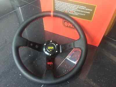 New 350mm Universal OMP Black Leather Red Stitching Deep Dish Steering Wheel